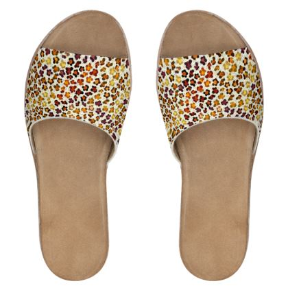 Leopard Skin Collection Womens Leather Sliders