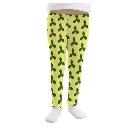 Holly Leaf Pattern Girls Leggings