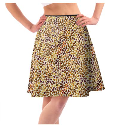Leopard Skin Collection Flared Skirt