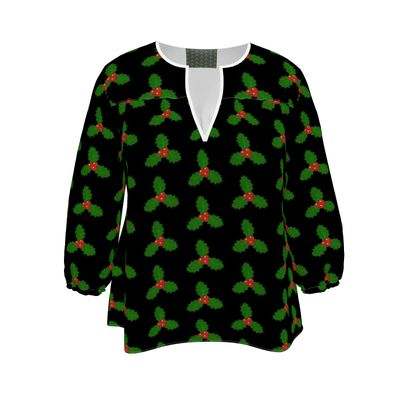 Holly Leaf Pattern Womens Blouse