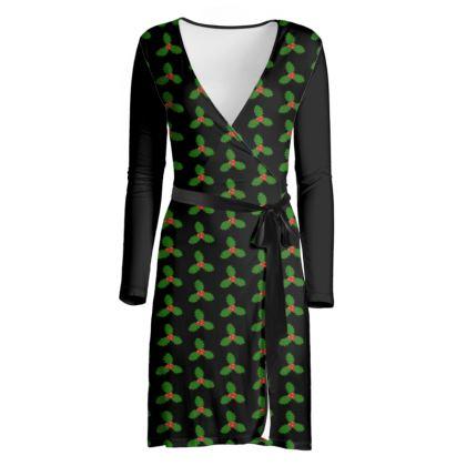 Holly Leaf Pattern Wrap Dress