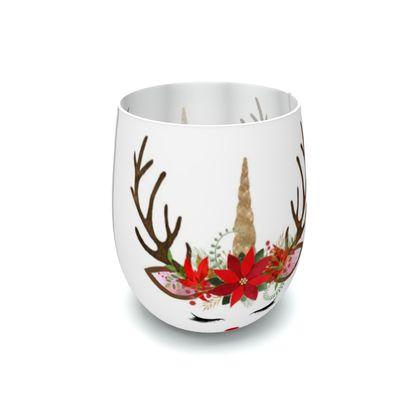 Unicorn Reindeer Antler Christmas Floral