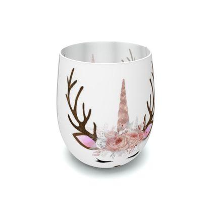 Unicorn Reindeer Antler Floral WhitePink
