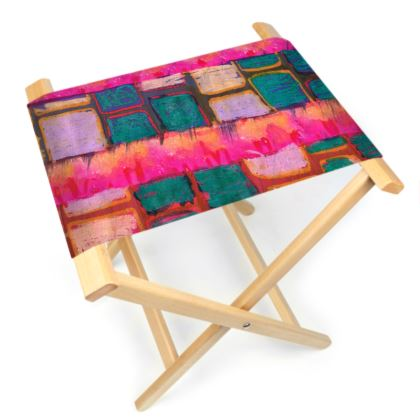 Blocks & Stripes Folding Stool Chair