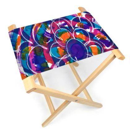 Expressive Floral Folding Stool Chair