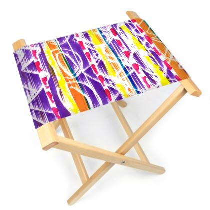 Zigzag Lines Folding Stool Chair