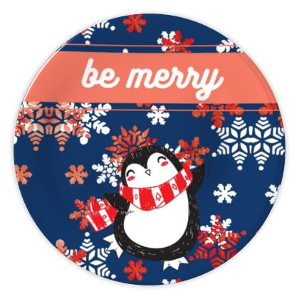 Be merry cute penguin and snowflakes Christmas