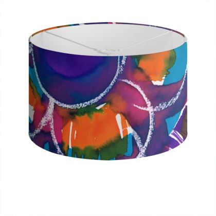 Expressive Floral Drum Lamp Shade
