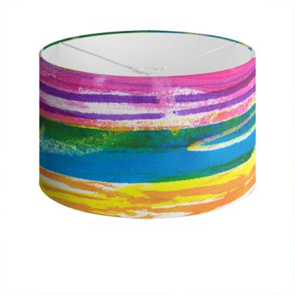 Rainbow Stripes Drum Lamp Shade