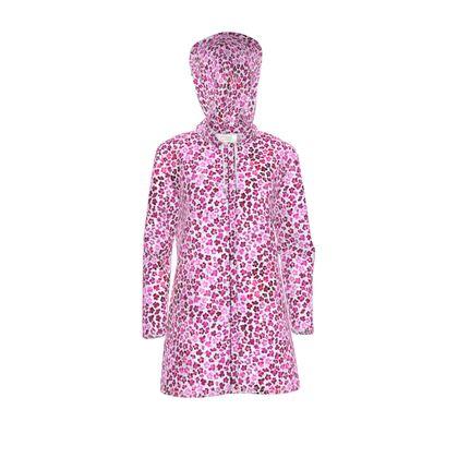Leopard Skin in Magenta Collection Womens Hooded Rain Mac