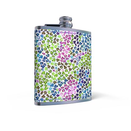 Leopard Skin Multicoloured Collection Leather Wrapped Hip Flask