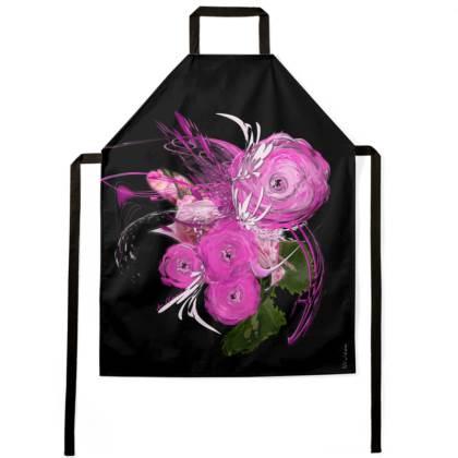 Apron - Förkläde - Pink Summer Fantasy Black