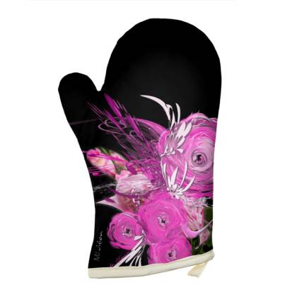 Oven Glove - Grytvante - Pink summer fantasy black