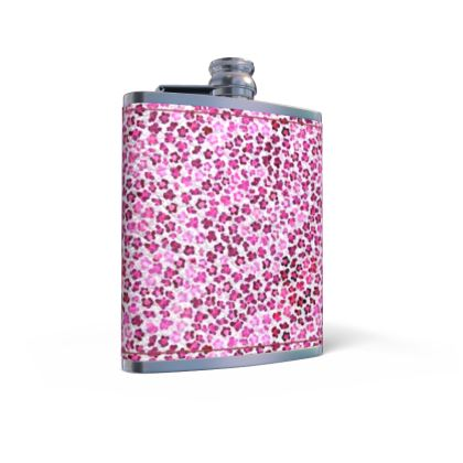 Leopard Skin in Magenta Collection Leather Wrapped Hip Flask