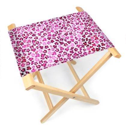 Leopard Skin in Magenta Collection Folding Stool Chair