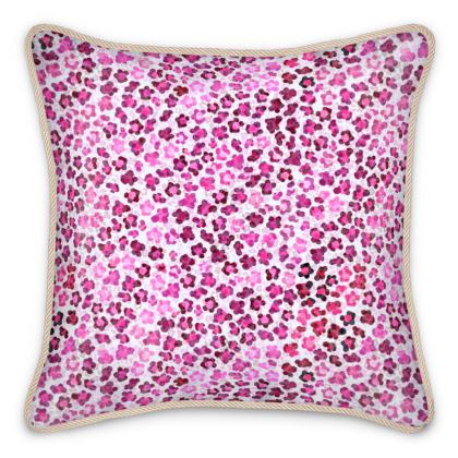 Leopard Skin in Magenta Collection Silk Cushions