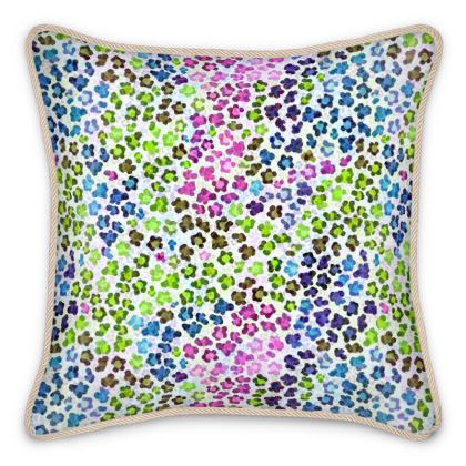 Leopard Skin Multicoloured Collection Silk Cushions
