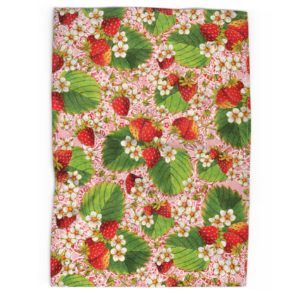 Pink Paisley Strawberries Tea Towels