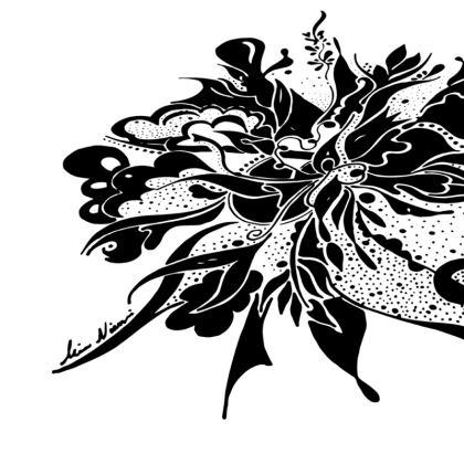 Cushion - Kudde - Black Ink White