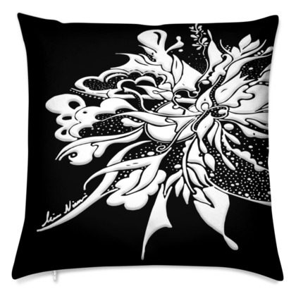 Cushion - Kudde - White ink black