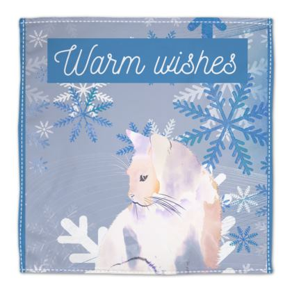 Warm Wishes Christmas Cute White Cat and Blue Snowflakes Illustration