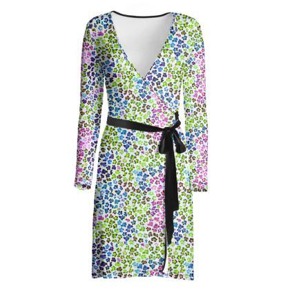 Leopard Skin Multicoloured Collection Wrap Dress