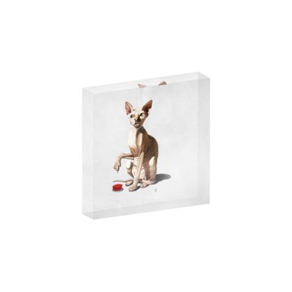 Cat-Astrophe ~ Wordless Animal Behaviour Acrylic Block