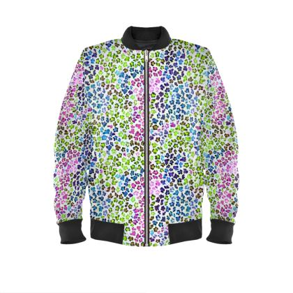Leopard Skin Multicoloured Collection Ladies Bomber Jacket