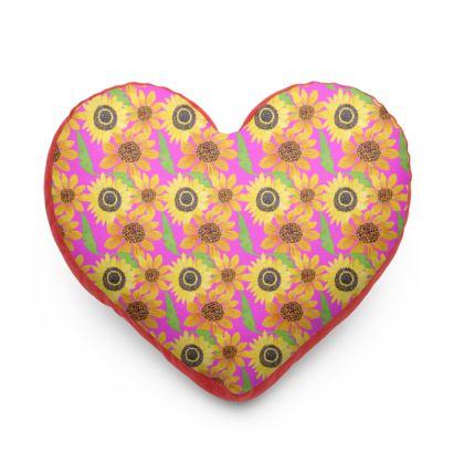 Naive Sunflowers On Fuchsia Heart Cushion