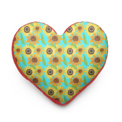 Naive Sunflowers On Turquoise Heart Cushion