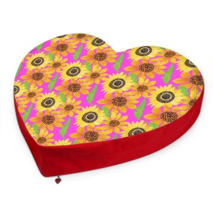 Naive Sunflowers On Fuchsia Big Heart Cushion