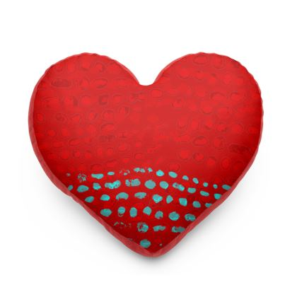 Textural Collection in red and turquoise Heart Cushion