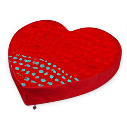 Textural Collection in red and turquoise Big Heart Cushion
