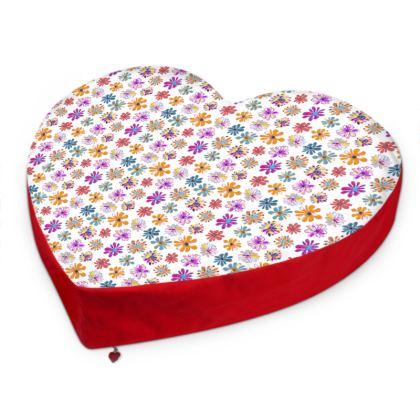 Rainbow Daisies Collection Heart Cushion