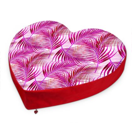 Tropical Garden Collection in Magenta Big Heart Cushion