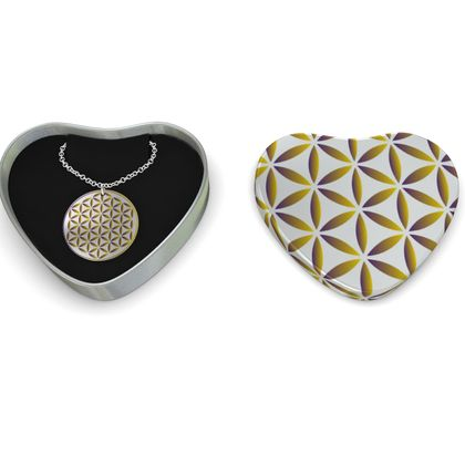Sterling Silver Necklace Gold Flower Of Life