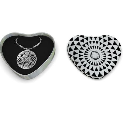 Sterling Silver Necklace Mandala Torus Black White