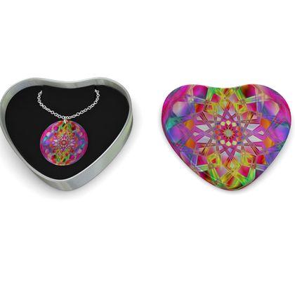 Sterling Silver Necklace Mandala Pink Flower