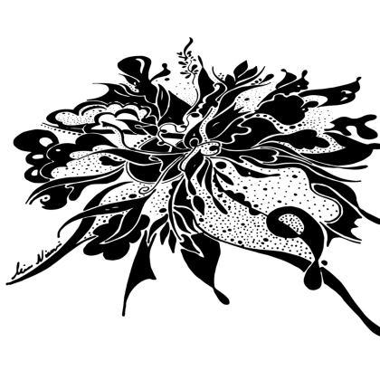 Big Bolster Cushion – Stor avlång bolster kudde  - Black Ink White