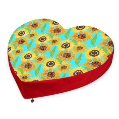 Naive Sunflowers On Turquoise Big Heart Cushion