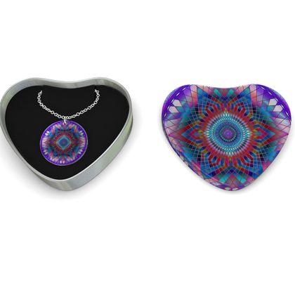 Sterling Silver Necklace Mandala Purple Snowflake
