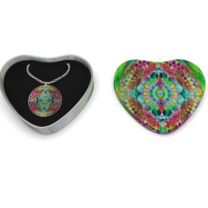 Sterling Silver Necklace Mandala Green Flower