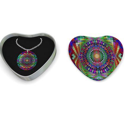 Sterling Silver Necklace Mandala Rainbow