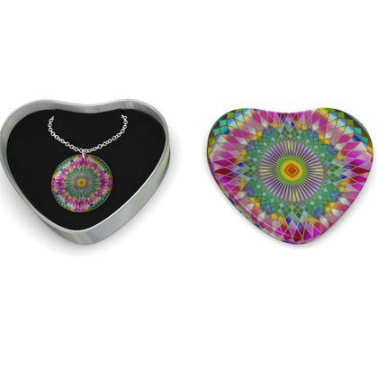 Sterling Silver Necklace Mandala Green Flower 1