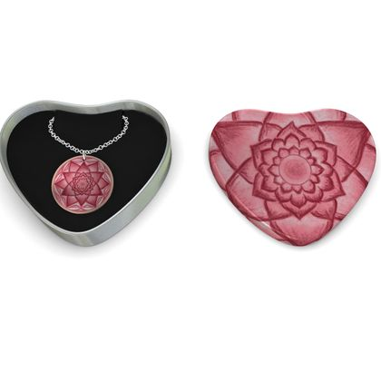 Sterling Silver Necklace  Mandala Red Flower 3
