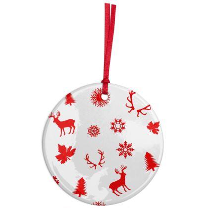 Red Deers Pattern Ceramic ornament