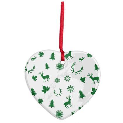 Green Deers Pattern Ceramic ornament