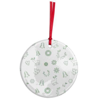 Green Deers Line Pattern Ceramic ornament