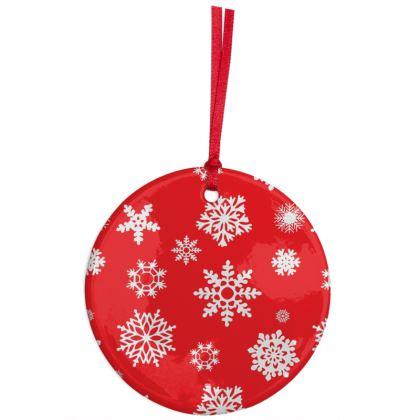 SnowFlake Pattern Ceramic ornament - RED