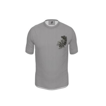 Lion Heart Grey Back-print Cut and Sew T Shirt